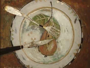 Piatto con pera (30x24)